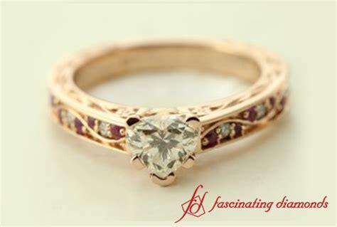 filigree antique heart shape diamond engagement ring