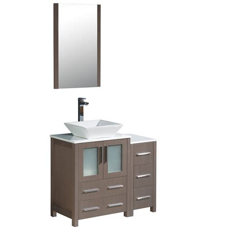 36 inch vessel sink vanity torino 36 inch gray oak modern bathroom vanity