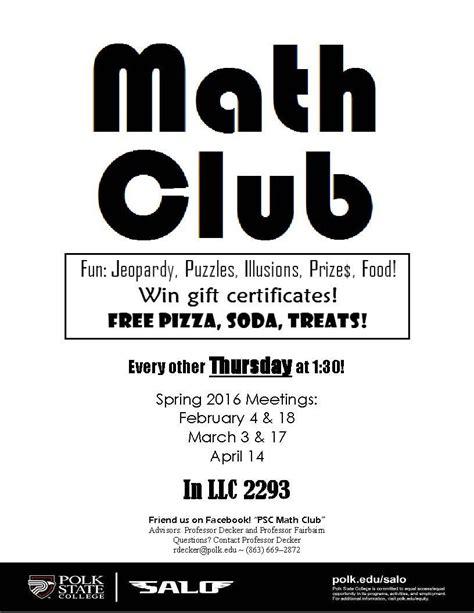 Math Club Flyer polk state college math club meeting polk state college