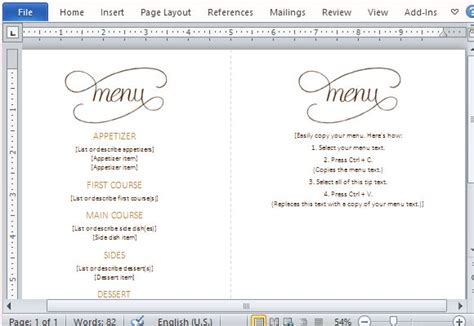 microsoft office menu templates menu template word