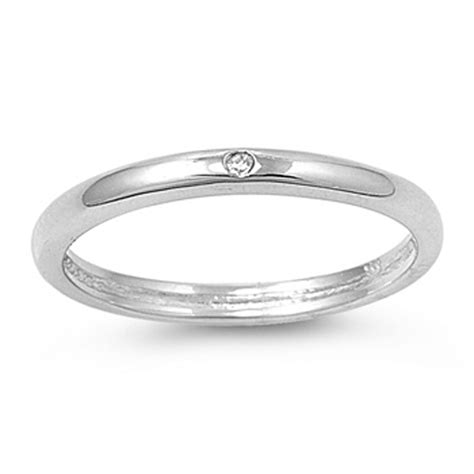 sterling silver s thin clean simple clear cz ring