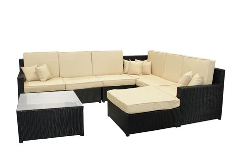 sofa and table set 8 piece black resin wicker outdoor furniture sectional