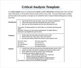 Exle Of Critical Analysis Essay by Sle Critical Analysis Template 8 Free Documents In Pdf