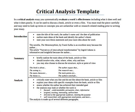 Writing A Critical Essay by Sle Critical Analysis Template 9 Free Documents In Pdf