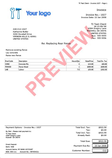 Example Of Invoice Template Trade Invoice Invoice Examples