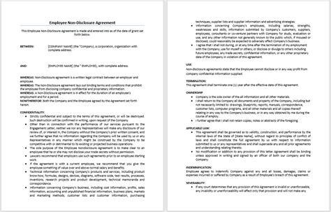 non disclosure agreement for employees template employee non disclosure agreement template microsoft