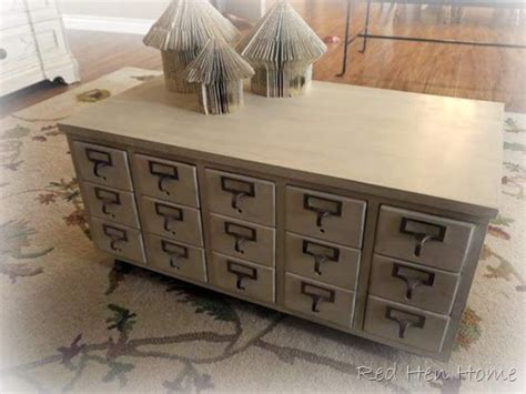 hen home card catalog coffee table