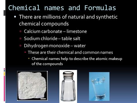 chemical name for table salt chemical formulas and chemical compounds ppt