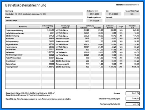 Muster Formular Nebenkostenabrechnung 7 betriebskostenabrechnung vorlage invitation templated