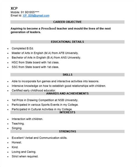 resume template for fresher teachers 40 fresher resume exles