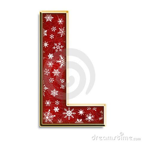 isolated christmas letter l in red royalty free stock