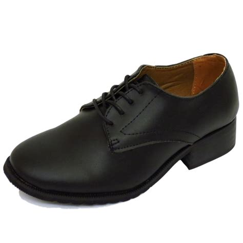 womens black leather oxford brogue smart work lace up