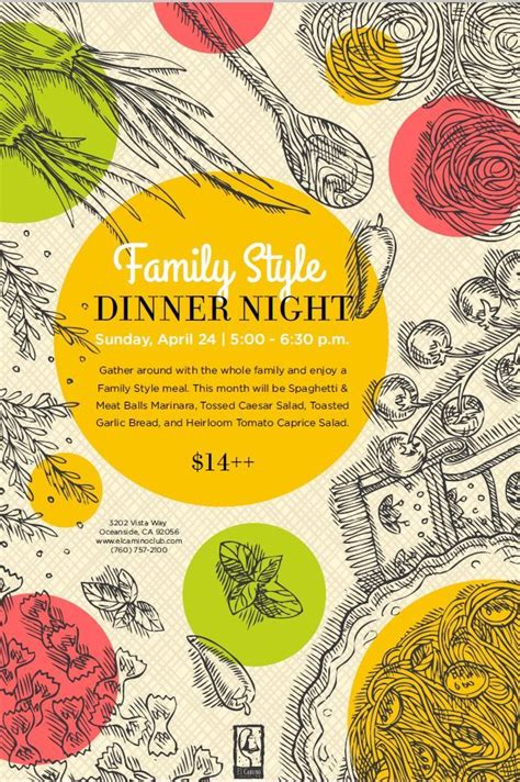 Family Style Dinner Food Event Flyer Poster Template Email Marketing Pinterest Event Dinner Poster Template