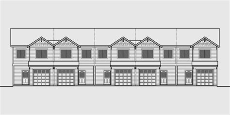 triplex house plan townhouse with garage row house t 414 triplex house plans triplex plan with garage 20 ft wide