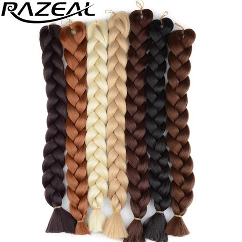 braided hair pieces for african americans razeal 48inch 105g pack jumbo kanekalon braiding hair