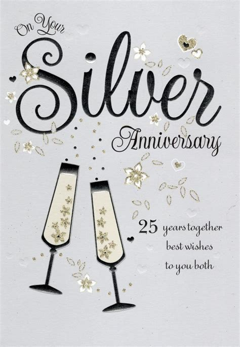 25th Wedding Anniversary Card And In by On Your Silver 25th Anniversary Greeting Card Cards