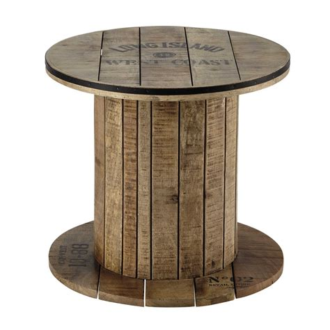 Mango Wood Side Table Mango Wood Cable Reel Side Table D 50cm Sailor Maisons Du Monde