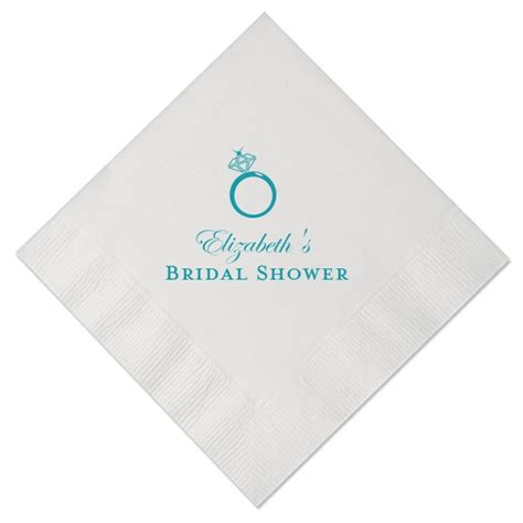 Personalized Napkins - engagement ring personalized cocktail napkins paperstyle