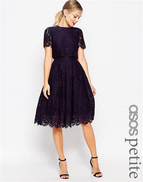ASOS Petite   ASOS PETITE SALON Lace Crop Top Midi Prom Dress at ASOS