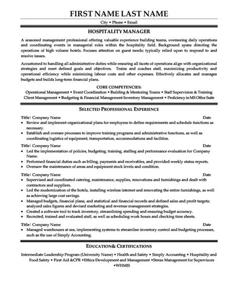 hospitality management resume sles sales and marketing manager resume template premium