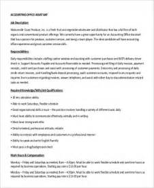 Assistant Accountant Description by Sle Accounting Assistant Description 9 Exles In Pdf Word