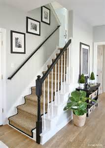 Unfinished Laminate Flooring - painted staircase makeover with seagrass stair runner