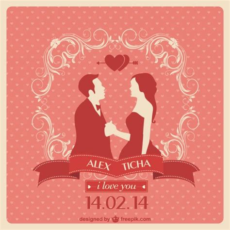 design invitation wedding vector red wedding invitation with a couple in love vector free
