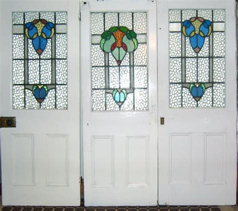 Doors With Stained Glass Panels Tree Stained Glass Door Panels By Unknown Designer And Manufacturer