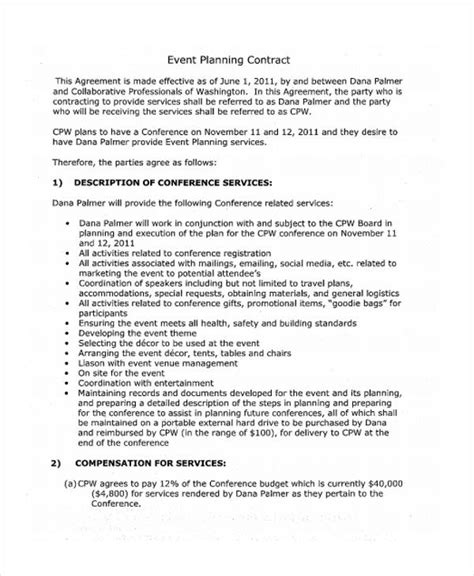 event contract templates 11 event contract templates free sle exle format