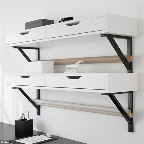ekby alex desk ikea small bedroom storage hacks daily mail online