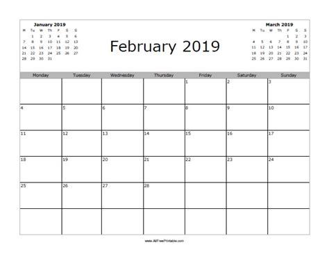 Calendar 2019 February February 2019 Calendar Free Printable Allfreeprintable