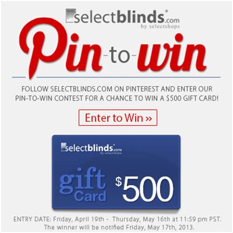 waldenbooks gift card 2013 selectblinds offers 500 gift card in pin to win contest