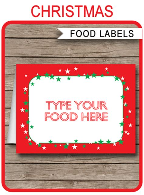 Free Printable Christmas Food Labels food labels place cards
