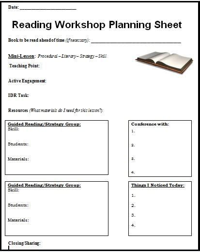 readers workshop lesson plan template 17 best images about reading forms on dolch