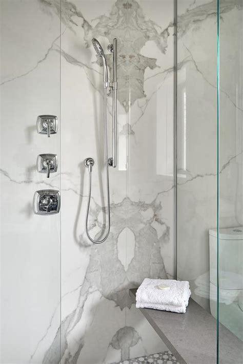 Gray Mosaic Shower Floor Design Ideas