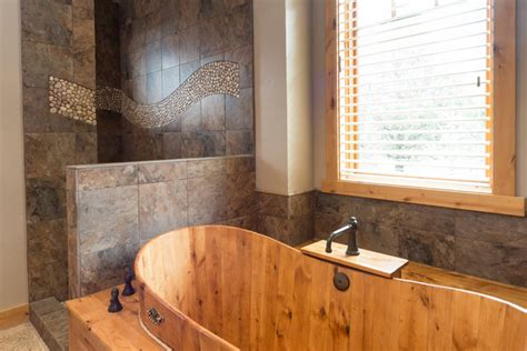 Brasada ranch custom designed master bathroom wood soaking tub no door