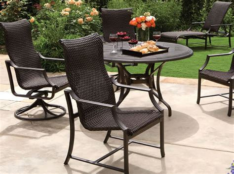 tropitone patio furniture windsor woven sling dining patio furniture tropitone