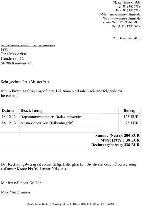 Rechnungskorrektur Muster 2013 wie schreibt eine perfekte rechnung mit mwst