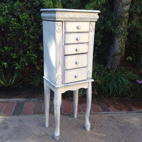 beautiful white jewelry armoire stand up jewelry box shabby