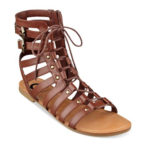 guess gladiator sandals lyst g by guess womens gladiator sandals in brown