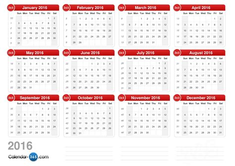 printable monthly calendar without holidays 2016 calendar