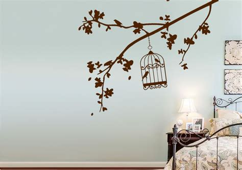 wall stickers uk summer branch with bird cage forest wall stickers adhesive