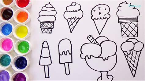 imágenes para dibujar helados como dibujar y colorear helados aprende los colores