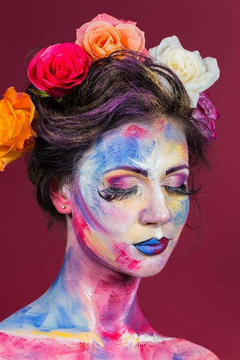 floral makeup stock photo image  girl beautifully