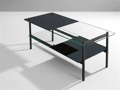 small mid century coffee table in glass and metal for sale