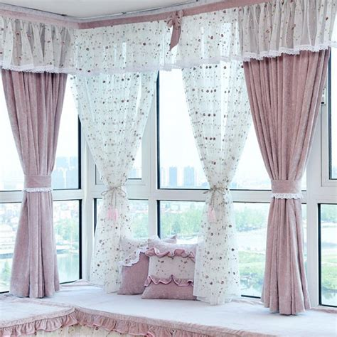 nursery valance curtains pink jacquard chenille pastoral bay window curtains for
