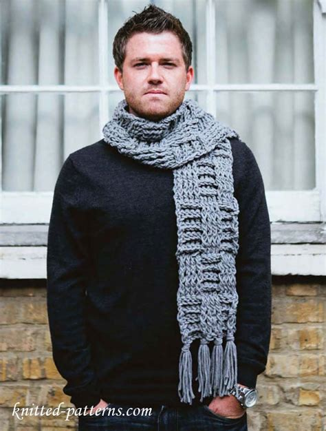 knitting pattern for mens scarf and hat men s scarf free crochet pattern free knitting patterns