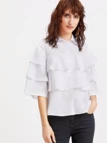 3 4 Sleeve Ruffle Blouse white 3 4 sleeve layered ruffle blouse makemechic