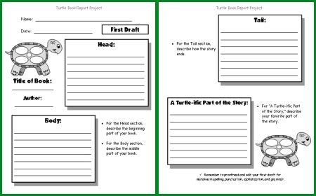 country report template middle school turtle book report project templates printable