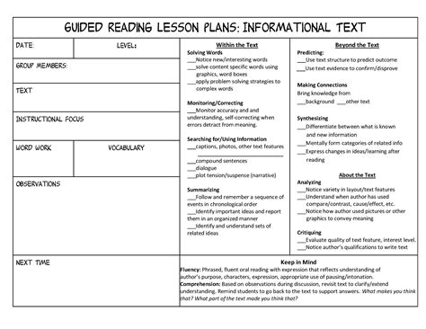 Guided Reading Lesson Plan Template Fountas And Pinnell investigating nonfiction part 3 independent and guided
